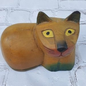 Primative carved wooden Cat
